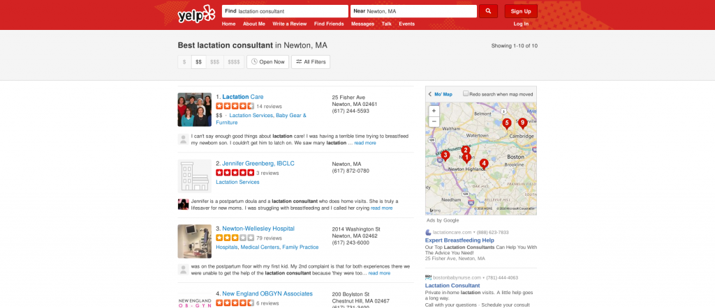 Yelp search lactation consultant